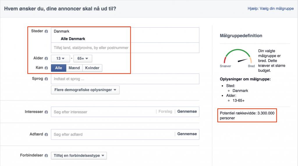 Facebook annoncecenter: Danske brugere